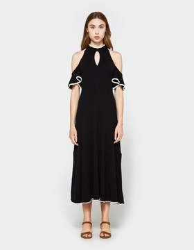 Apiece Apart Knit Cold Shoulder Dress in Black w/ White Tipping