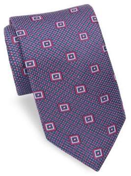 Ike Behar Geometric Patterned Silk Tie