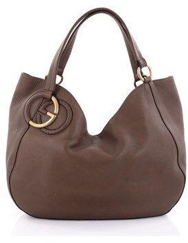 Gucci Pre-owned: Twill Tote Leather Medium. - BROWN - STYLE