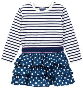 Toobydoo Striped Top Dot Ruffle Bottom Dress (Toddler, Little Girls, & Big Girls)
