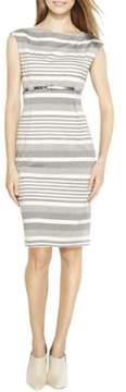 Calvin Klein Women's Cap-Sleeve Belted Striped Sheath Dress (Atlantis/White, 2)
