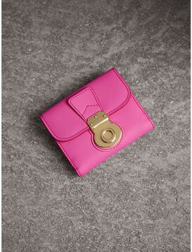 Burberry Trench Leather Wallet - ROSE PINK/ORANGE RED - STYLE