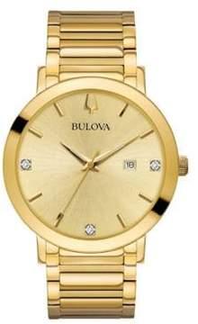 Bulova Modern Diamond & Stainless Steel Goldtone Bracelet Watch
