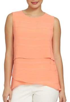 Chaus Electric Sunset Tiered Crinkle Novelty Blouse