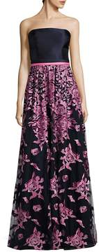 Theia Women's Floral-Embroidered Strapless Gown - Pink-navy, Size 10