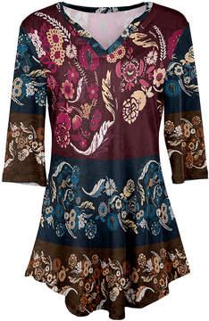Azalea Rust & Blue Floral V-Neck Tunic - Women & Plus