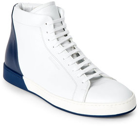 Jil Sander White & Navy Leather Mid Sneakers