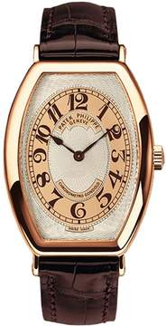 Patek Philippe Gondolo Silver Brown Dial 18kt Rose Gold Brown Leather Men's Watch