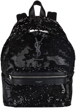 Saint Laurent Mini City Sequin Backpack - BLACK - STYLE