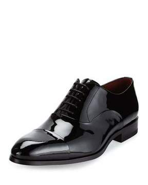 Magnanni Cap-Toe Patent Leather Oxford Shoe, Black