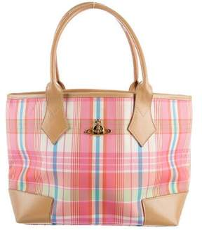 Vivienne Westwood Leather-Trimmed Plaid Tote