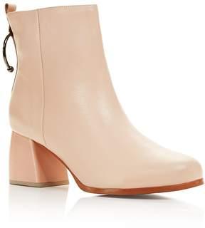 Jaggar Women's Leather Bull Ring Block Heel Booties