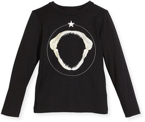 Givenchy Long-Sleeve Shark Graphic T-Shirt, Size 12-14