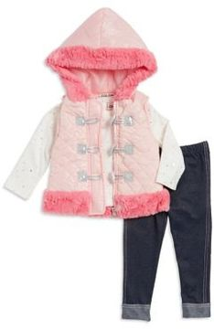 Little Lass Baby Girl's Three-Piece Puffer Vest, Top and Pants Set