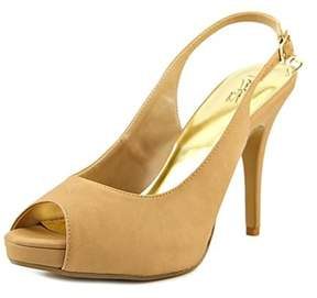 Thalia Sodi Camiil Women Peep-toe Leather Nude Slingback Heel.