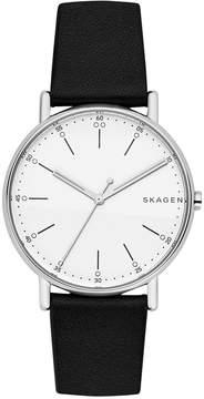 Skagen Unisex Signature Black Leather Strap Watch 40mm SKW6353