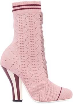 Fendi 105mm Stretch Lurex Knit Ankle Boots