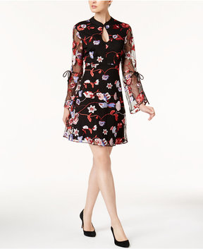 ECI Embroidered Fit & Flare Dress