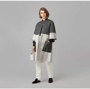 Amanda Wakeley   Black Ecru Metallic Jacquard Coat   L   Black