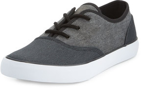 Andrew Marc Neptune Canvas Low-Top Sneaker, Black/White