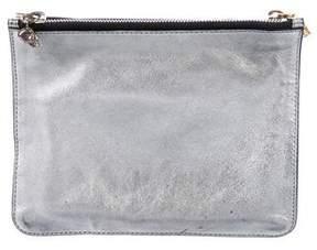 Alexander McQueen Metallic Leather Dual Compartment Zip Clutch