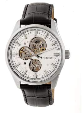 Heritor Stanley Silver Semi-Skeleton Dial Black Leather Strap Automatic Men's Watch