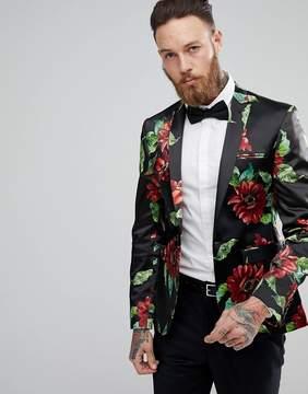 Asos Super Skinny Blazer In Bold Floral Print