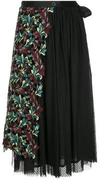 Antonio Marras pleated skirt with embroidered floral panel