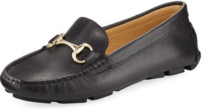Neiman Marcus Daize Leather Flat Driver, Black