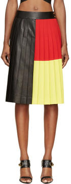 Fausto Puglisi Black Colorblocked Pleated Leather Skirt