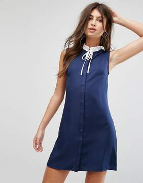 Fashion Union Sleeveless Shift Dress With Ribbon Tie Pleated Collar