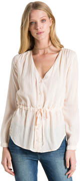 Bella Dahl Tie Waist Button Down-Malibu Peach-XS