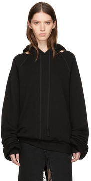 Unravel Black Cotton and Cashmere Cut-Out Hoodie
