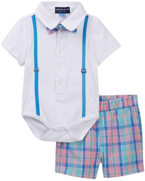 Andy & Evan White Plaid Polo Bodysuit Set (Baby Boys)