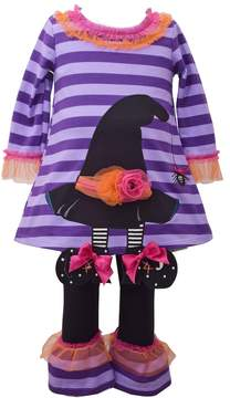 Bonnie Jean Baby Girl Witch Hat Dress & Ruffled Leggings Set