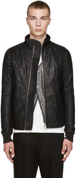 Rick Owens Black Intarsia Leather Jacket