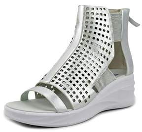 Elie Tahari Arena Women Open Toe Leather Silver Wedge Sandal.