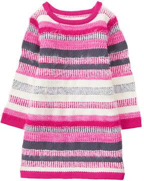 Gymboree Pink & Gray Stripe Sweater Dress - Infant