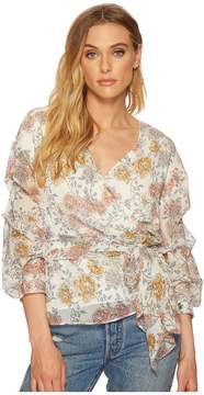J.o.a. Wrap Top with Tiered Sleeve Women's Clothing