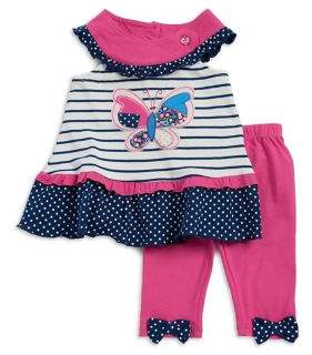 Nannette Baby Girl's Two-Piece Multi-Pattern Top and Leggings Se