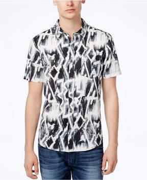 GUESS Men's Chalk Graffiti-Print Cotton Shirt