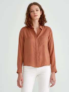 Frank and Oak Satin Crepe Blouse in Dusty Orange