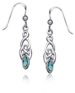 Celtic Bling Jewelry Dyed Blue Topaz Knotwork Sterling Silver Dangle Earrings.
