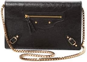 Balenciaga Women's Metallic Edge Wallet on Chain
