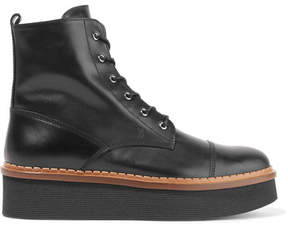 Tod's Flatform Lace-up Leather Ankle Boots - Black