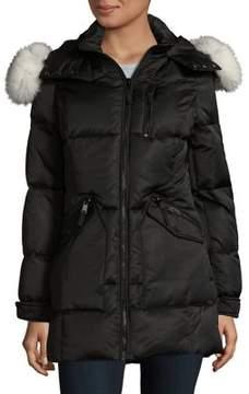 1 Madison Blue Fox Fur Trimmed Down Coat