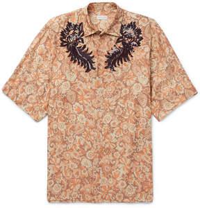 Dries Van Noten Oversized Sequinned Floral-Print Voile Shirt