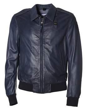 Blauer Men's Blue Leather Outerwear Jacket.