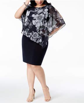 Connected Plus Size Floral-Chiffon Cape Dress