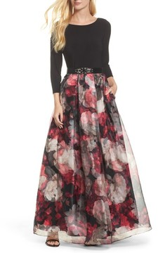 Eliza J Women's Embellished Knit & Organza Ballgown